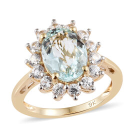 Brazilian Aquamarine (2.35 Ct),Cambodian Zircon 9K Y Gold Ring  3.800  Ct.