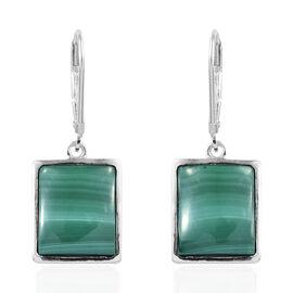 Malachite (Bgt) Lever Back Earrings in Sterling Silver  15.000 Ct.