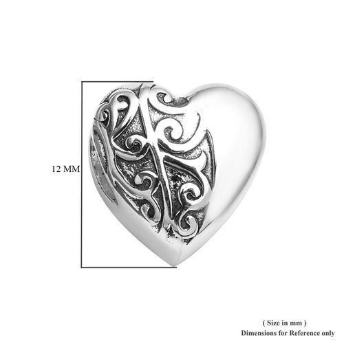 Charmes De Memoire Platinum Overlay Sterling Silver Filigree Heart Charm, Silver wt 3.25 Gms