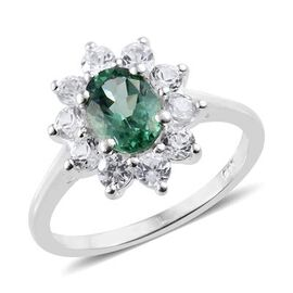 Teal Apatite (Ovl), Natural Cambodian Zircon Ring in Sterling Silver 1.660 Ct.