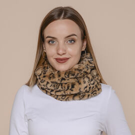 2 in 1 Leopard Pattern Infinity Scarf and Hat (Size 80x16cm) - Khaki