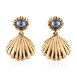 Fresh Water Peacock Pearl (5.00 Ct) 14K Gold Overlay Sterling Silver Earring  1.500  Ct.