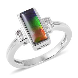 AA Canadian Ammolite (Bgt 10x4 mm), White Topaz Ring in Rhodium Overlay Sterling Silver