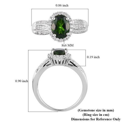 AA Russian Diopside and Natural Cambodian Zircon Ring in Platinum Overlay Sterling Silver 1.75 Ct.