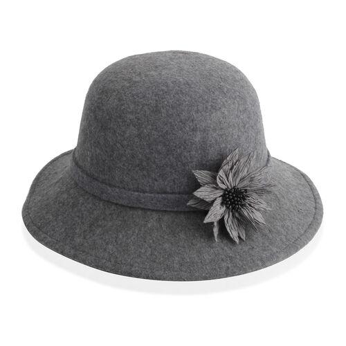 Grey Colour Flower Adorned Hat (Size 16 Cm)