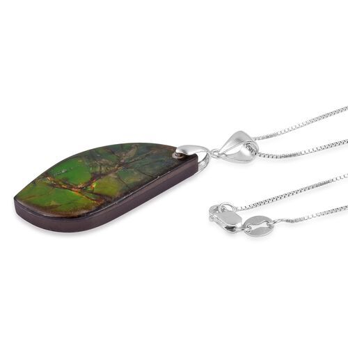 Extremely Rare Size - Canadian Ammolite Pendant with Chain in Rhodium Plated Sterling Silver 20.590 Ct.