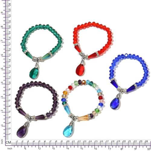 Set of 5 - Simulated Tanzanite, Ruby, Emerald and Multi Gemstone Stretchable Bracelet