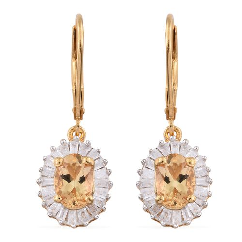 Imperial Topaz (Ovl), Diamond Lever Back Earrings in Yellow Gold Vermeil Sterling Silver 2.360 Ct. Diamond Ct Wt 0.61 Carat