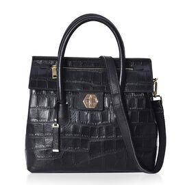 100% Genuine Leather Black Colour Croc Embossed Tote Bag with Removable Shoulder Strap (Size 32x13x3