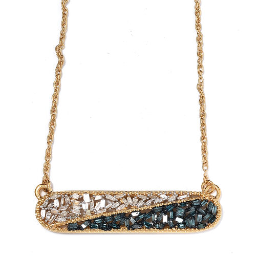 Blue and White Diamond (Bgt) Necklace with Chain in 14K Gold and Platinum Overlay with Gold Plating Sterling Silver  0.500  Ct.