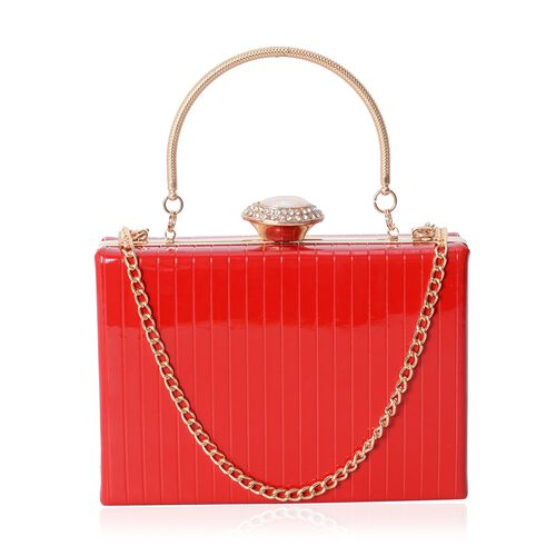 Boutique Collection Vintage Style Red Clutch Bag with Removable Iron Chain Shoulder Strap (Size 17.5