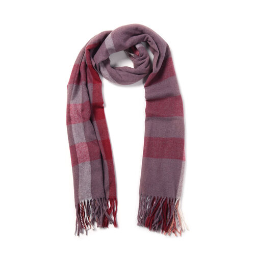 Red and Purple Chequered Pattern Scarf (Size 62x195+9 Cm)