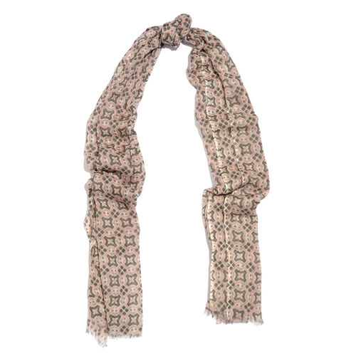 100% Merino Wool Pink, Grey and Off White Colour Printed Scarf with Fringes (Size 170X70 Cm)