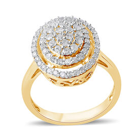9K Yellow Gold SGL Certified Diamond (Rnd) (I3/G-H) Ring 1.00 Ct.