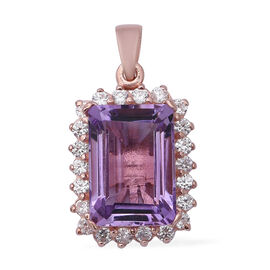 Rose De France Amethyst (Oct 7.03 Ct), Natural White Cambodian Zircon Pendant in Sterling Silver 8.2