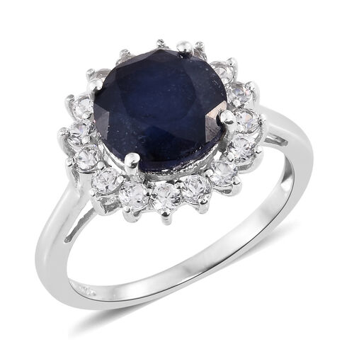 Premium Collection - Designer Inspired Rare Size Masoala Sapphire (Rnd 5.75 Ct), Natural White Cambodian Zircon Floral Ring in Platinum Overlay Sterling Silver 6.750 Ct.