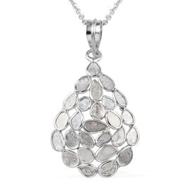 Artisan Crafted Polki Diamond Pendant with Chain (Size 18) in Platinum Overlay Sterling Silver 2.50