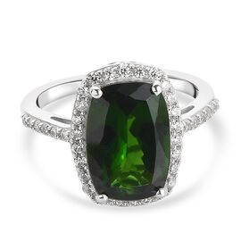 Russian Diopside, Zircon Main Stone With Surrounding Stone Ring in Platinum Overlay Sterling Silver