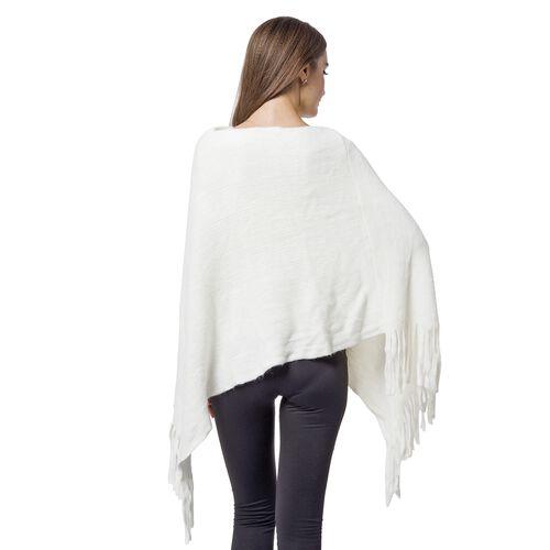 Designer Inspired - White Colour Pom Pom Embellished Poncho with Tassels (One Size)