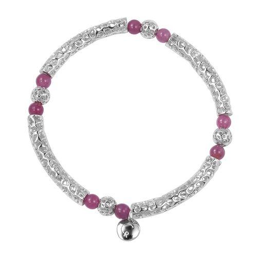 RACHEL GALLEY 8.01 Ct Burmese Ruby Beads Lattice Bracelet in Rhodium Plated Silver 8.94 Grams