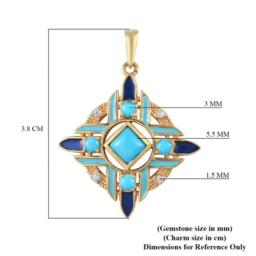 Arizona Sleeping Beauty Turquoise and Natural Cambodian Zircon Enamelled Pendant in 14K Gold Overlay Sterling Silver 1.36 Ct.