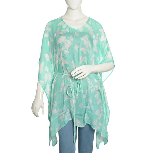 Green and White Colour Butterfly Printed Kaftan (Free Size)