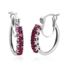 AA African Ruby (Rnd) Hoop Earrings (with Clasp) in Platinum Overlay Sterling Silver 1.500 Ct.