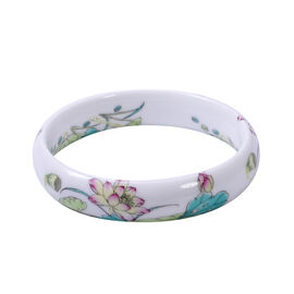 Floral Motif Ceramic Bangle (Size 8.5)