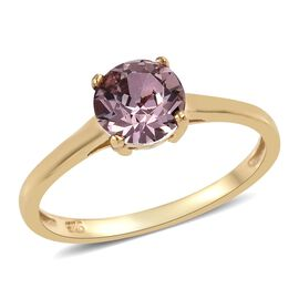 J Francis - 14K Gold Overlay Sterling Silver (Rnd) Solitaire Ring  Made with Pink SWAROVSKI ZIRCONIA