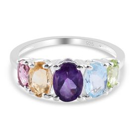 Amethyst, Citrine, Skyblue Topaz, Lotus Granet and Peridot 5-Stone Ring in Sterling Silver 1.84 Ct.