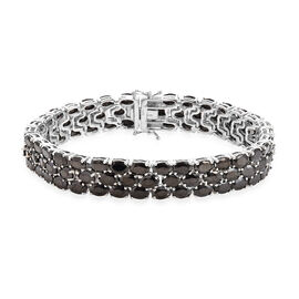 21.50 Ct Elite Shungite Tennis Bracelet in Platinum Plated Sterling Silver 25.41 Grams 8 Inch