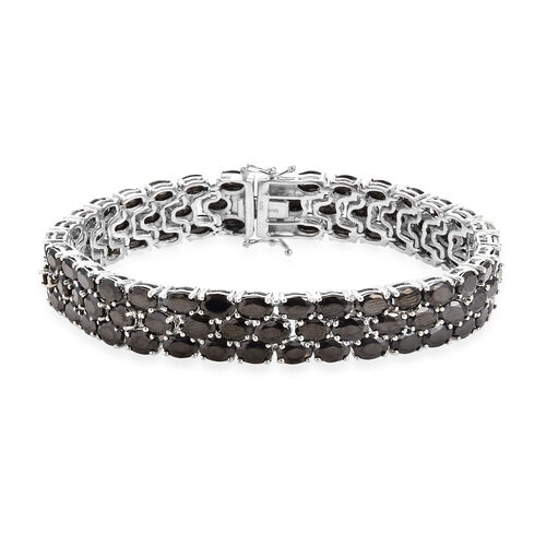 21.50 Ct Elite Shungite Tennis Bracelet in Platinum Plated Sterling Silver 25.41 Grams 8 Inch