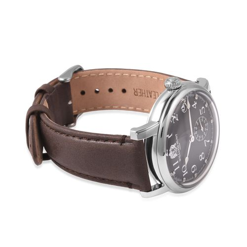 WILLIAM HUNT Japanese Movement Water Resistance Watch in Stainless Steel with Dark Brown Leather Strap