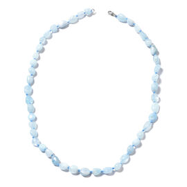 Espirito Santo Aquamarine Tumble Beaded Necklace in Rhodium Plated Sterling Silver 18 Inch