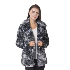 Cream and Brown Leopard Print Pattern Faux Fur Coat (Size L to XL)