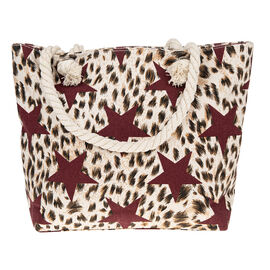 Stars & Animal Print Tote Bag - Red