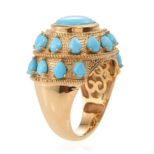 Arizona Sleeping Beauty Turquoise (Ovl 2.55 Ct) Ring in 14K Gold Overlay Sterling Silver 5.250 Ct.