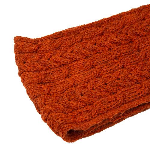ARAN 100% Pure New Wool Irish Scarf in Burnt Orange Colour (Size One)