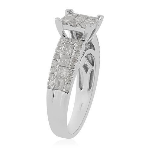9K White Gold Natural White Diamond Ring 1.50 ct, Gold Wt. 4.70 Gms