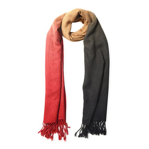 Red, Black and Coffee Colour Scarf (Size 180x62 Cm)