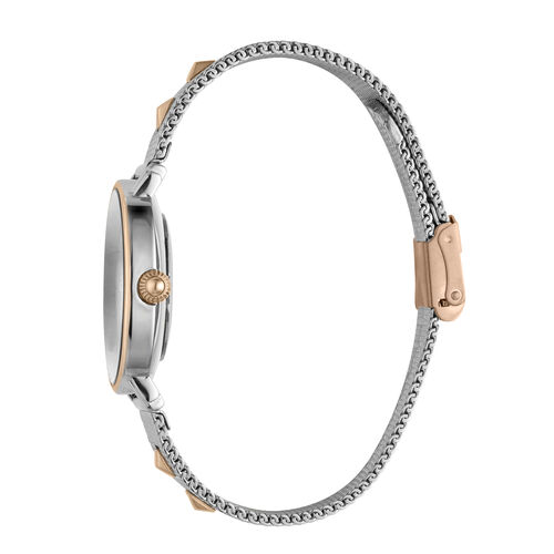 Just Cavalli Animalier Japanese Movement Ladies Watch with Bracelet (Size 7 with 1 inch Extender) in Silver and Rose Gold Tone