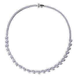 ELANZA Signature Collection-  Simulated Diamond Necklace (Size 18) in Rhodium Overlay Sterling Silve