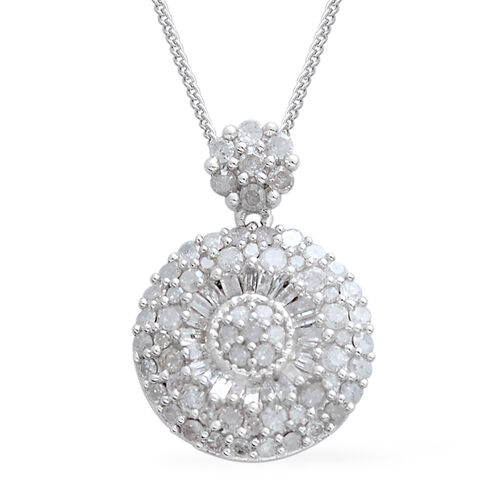 Diamond (Rnd and Bgt) Pendant with Chain in Platinum Overlay Sterling Silver 1.000 Ct.