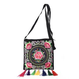 Embroidered Flower Pattern Tote Bag with Colourful Tassels and Shoulder Strap (Size 21x22+9 Cm) - Mu