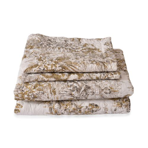 Chocolate and Cream Colour Women Pattern Microfiber Reversible Quilt (Size 260X240 Cm) and 2 Pillow Shams (Size 70X50 Cm)
