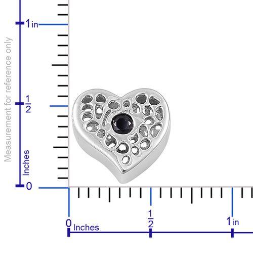 RACHEL GALLEY Kanchanaburi Blue Sapphire (Rnd) Heart Pendant in Rhodium Overlay Sterling Silver
