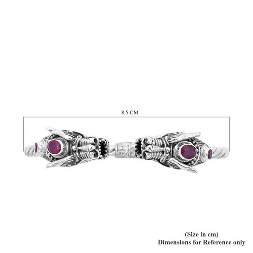 Royal Bali Collection - Ruby (Ovl 7x5mm) Dragon Head Bangle (Size 7.5) in Sterling Silver 3.00 Ct, Silver Wt 32.20 Gms