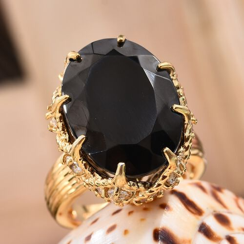 Elite Shungite (Ovl 18x13 mm), Natural Cambodian Zircon Ring in 14K Gold Overlay Sterling Silver 10.00 Ct. Silver wt. 7.78 Gms
