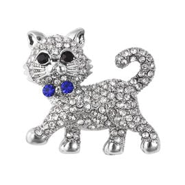 Multicolour Austrian Crystal Cat Brooch in Silver Plated