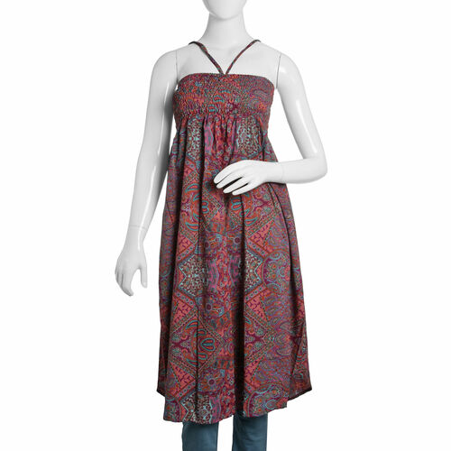 Last Chance Summer Collection - Shirred Midi Bell Dress - Fuchsia, Orange and Multi Colour Paisley P